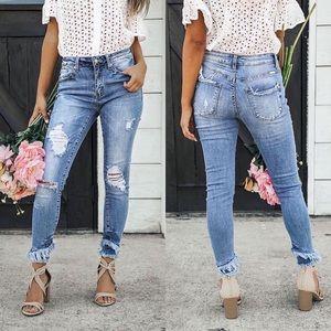 Denim - Sweet Georgia Distressed Frayed Hem Jeans
